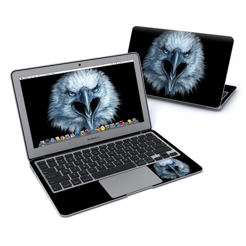 MacBook Air Pre 2018 11-inch Skin design of Bird, Vertebrate, Bird of prey, Beak, Eagle, Wildlife, Organ, Close-up, Eye, Accipitriformes with white, gray, black, blue colors