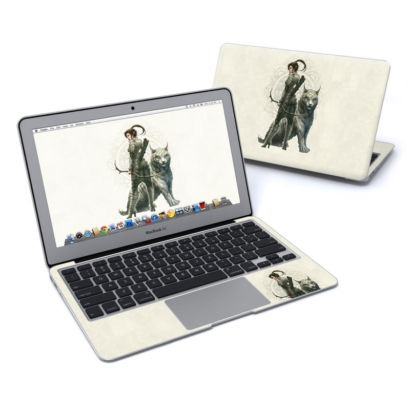 MacBook Air Pre 2018 11-inch Skin design of Illustration, Fictional character, Drawing, Woman warrior, Art, Mythology, Sketch with gray, black, pink, yellow, green colors