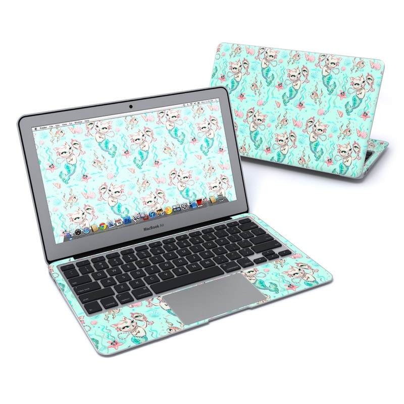 MacBook Air Pre 2018 11-inch Skin design of Green, Aqua, Pattern, Teal, Turquoise, Pink, Textile, Wrapping paper, Design with blue, pink, white, green colors