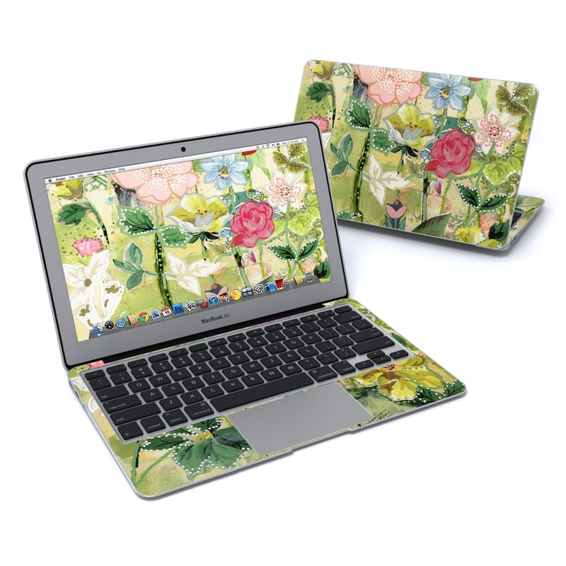 MacBook Air Pre 2018 11-inch Skin design of Flower, Plant, Botany, Pink, Wildflower, Flowering plant, Watercolor paint, Petal, Floral design, Pattern with green, pink, red, blue, white, black colors