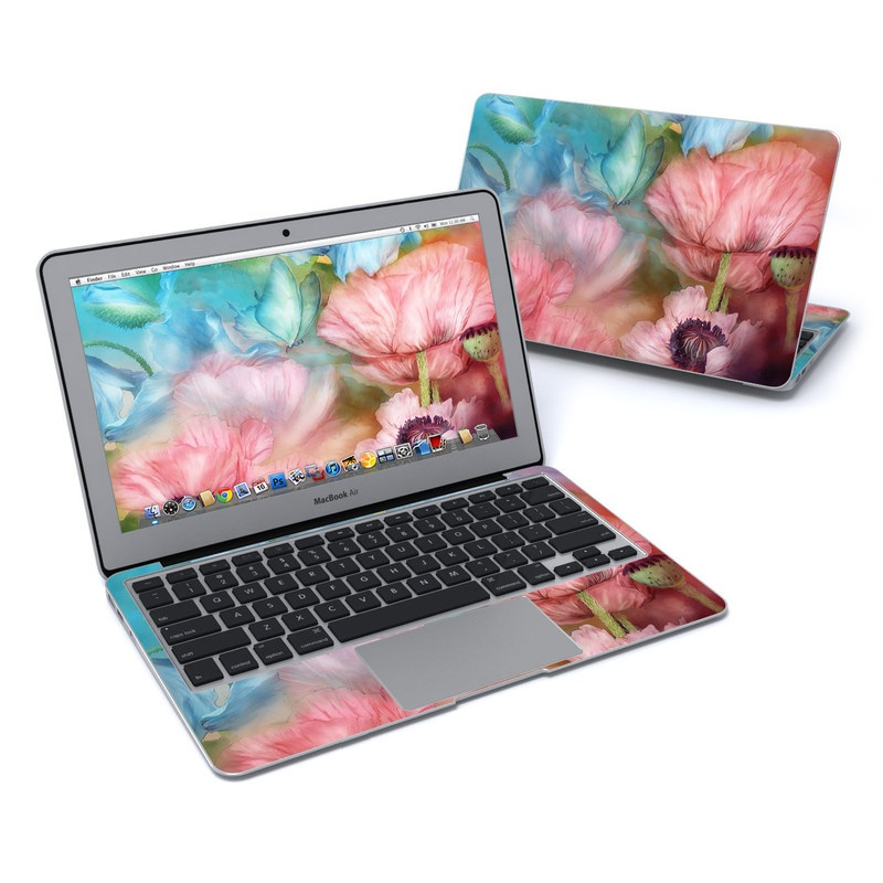 MacBook Air Pre 2018 11-inch Skin design of Flower, Petal, Watercolor paint, Painting, Plant, Flowering plant, Pink, Botany, Wildflower, Still life with gray, blue, black, red, green colors