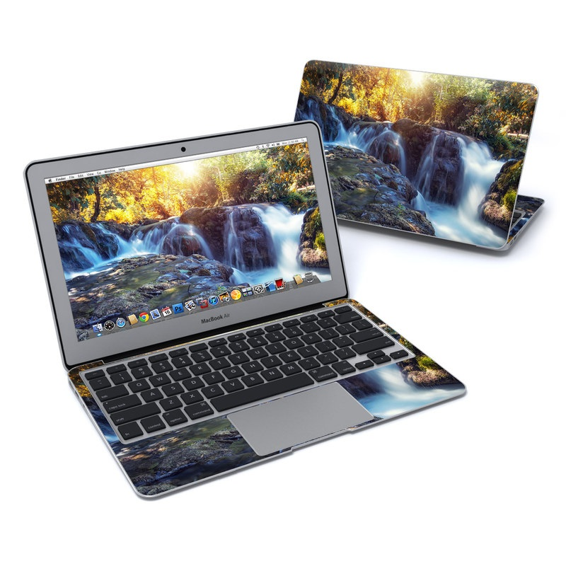 MacBook Air Pre 2018 11-inch Skin design of Waterfall, Natural landscape, Body of water, Nature, Water resources, Water, Watercourse, Stream, Nature reserve, Rock with gray, yellow, orange, green, white, blue colors