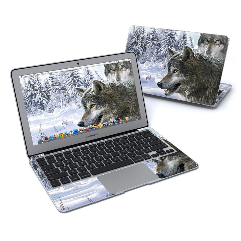 MacBook Air Pre 2018 11-inch Skin design of Mammal, Vertebrate, Wolf, Canidae, canis lupus tundrarum, Canis, Wildlife, Carnivore, Wolfdog, Dog with gray, black, blue, purple colors