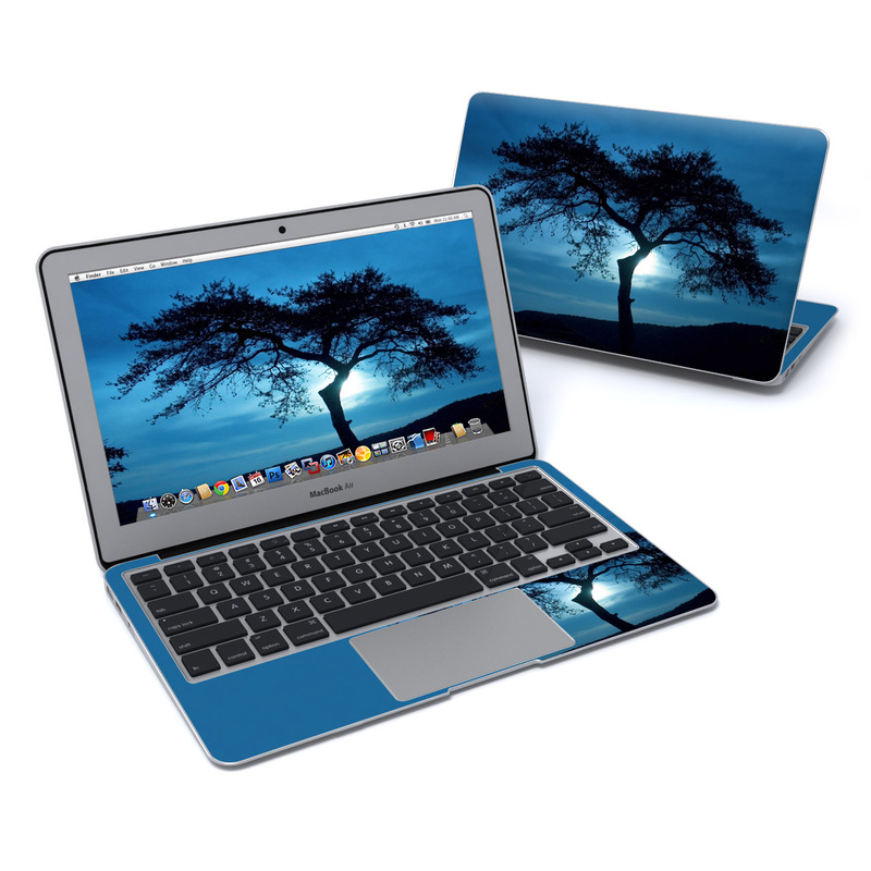 MacBook Air Pre 2018 11-inch Skin design of Sky, Tree, Nature, Natural landscape, Blue, Horizon, Branch, Woody plant, Dusk, Savanna with black, blue, gray colors