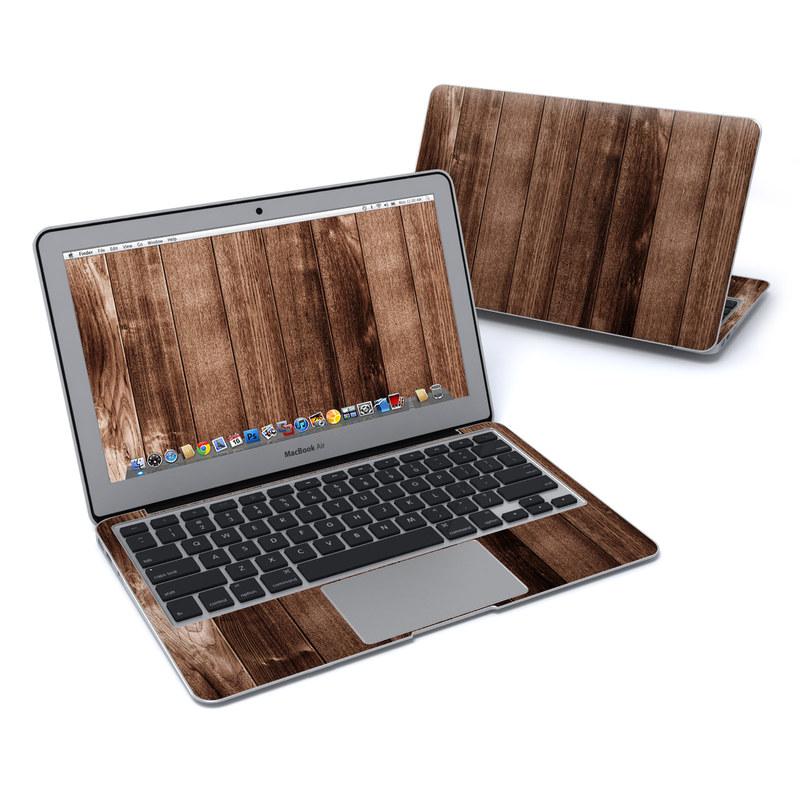 MacBook Air Pre 2018 11-inch Skin design of Wood, Wood flooring, Hardwood, Wood stain, Plank, Brown, Floor, Line, Flooring, Pattern with brown colors
