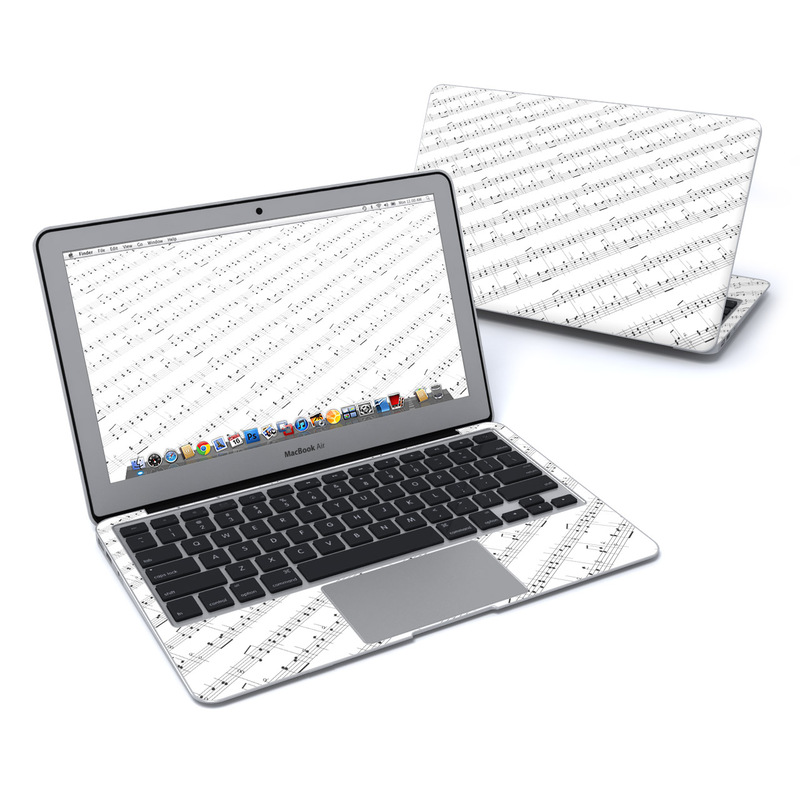 MacBook Air Pre 2018 11-inch Skin design of Sheet music, Music, Text, Monochrome, Line, Font, Parallel, Classical music with white, gray colors