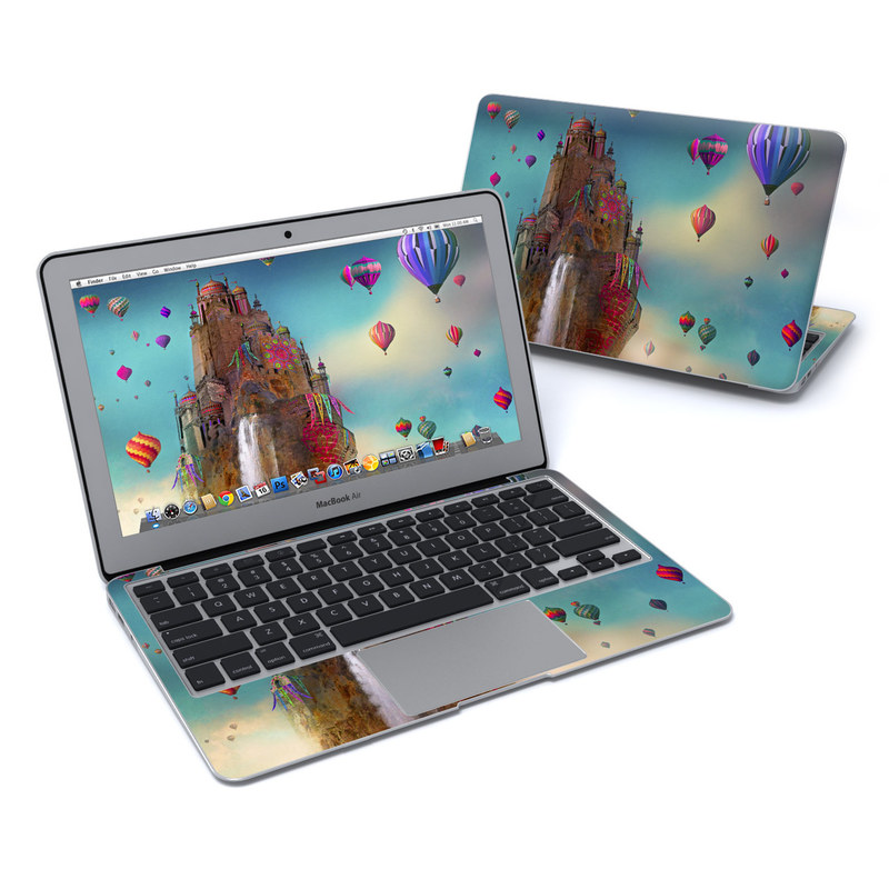 MacBook Air Pre 2018 11-inch Skin design of Hot air balloon, Sky, Hot air ballooning, Illustration, Graphic design, Art, Cg artwork, Vehicle, Rock, Graphics with black, gray, blue, red, green colors