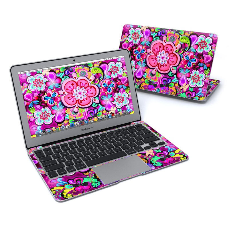 MacBook Air Pre 2018 11-inch Skin design of Pattern, Pink, Design, Textile, Magenta, Art, Visual arts, Paisley with purple, black, red, gray, blue colors