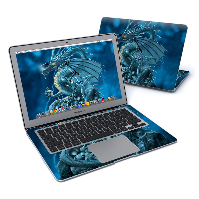 MacBook Air Pre 2018 13-inch Skin design of Cg artwork, Dragon, Mythology, Fictional character, Illustration, Mythical creature, Art, Demon with blue, yellow colors