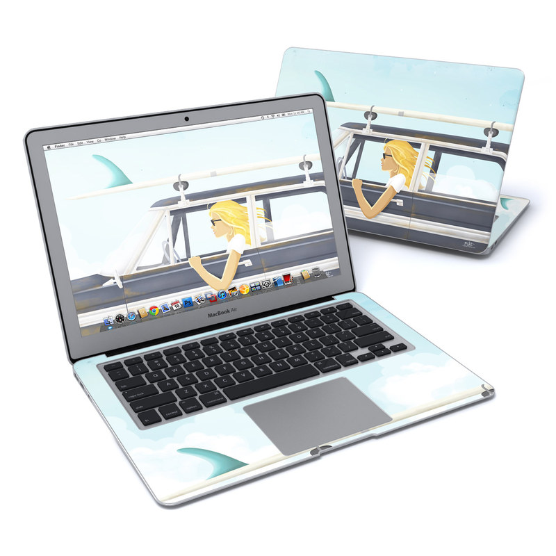 MacBook Air Pre 2018 13-inch Skin design of Vehicle door, Vehicle, Automotive exterior, Automotive design, Car, Headgear, Windshield, Dress, Automotive window part, Family car with blue, white, gray, yellow colors