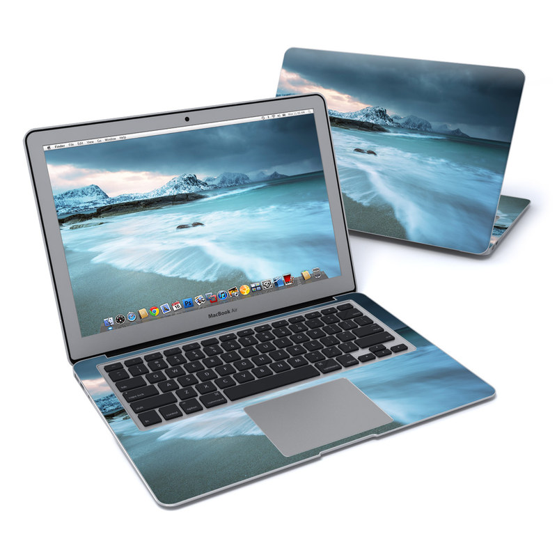 MacBook Air Pre 2018 13-inch Skin design of Body of water, Sky, Nature, Sea, Ocean, Wave, Blue, Water, Coast, Wind wave with white, blue, black, orange colors