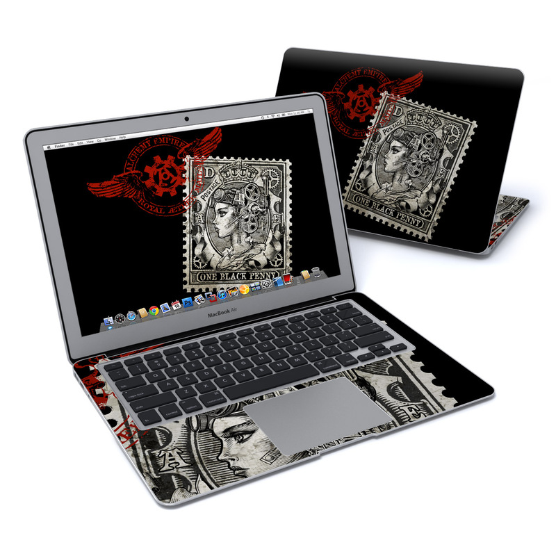 MacBook Air Pre 2018 13-inch Skin design of Font, Postage stamp, Illustration, Drawing, Art with black, gray, red colors