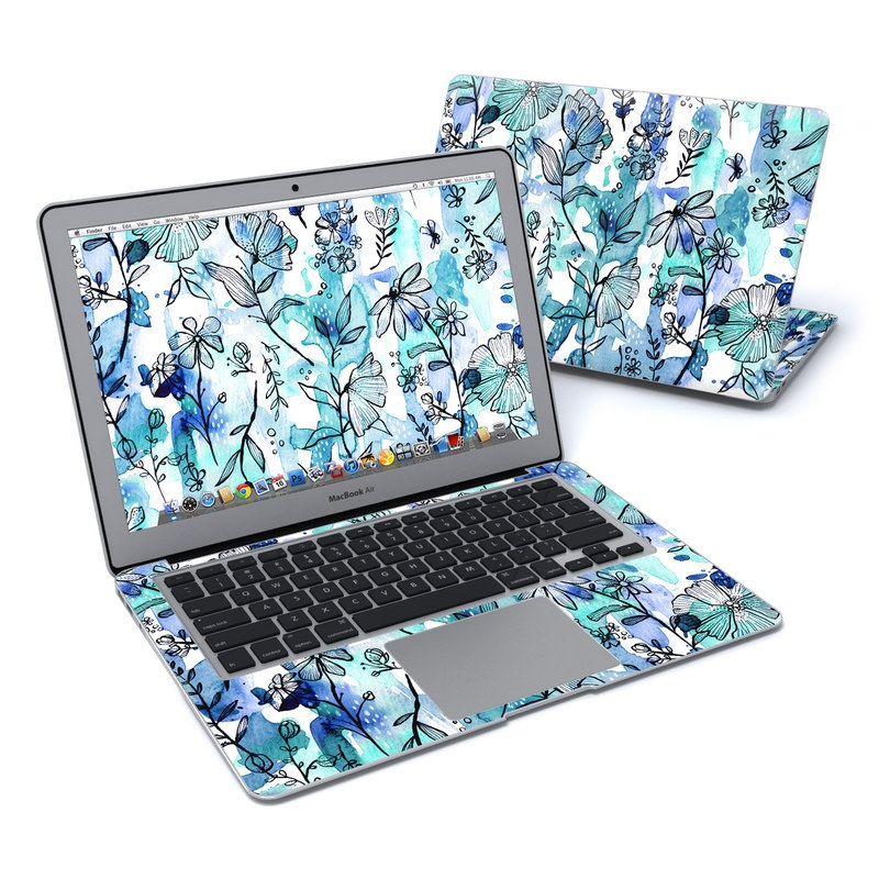 Blue Ink Floral MacBook Air Pre 2018 13-inch Skin