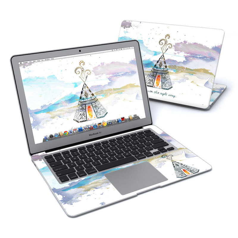 MacBook Air Pre 2018 13-inch Skin design of Illustration, Art, Graphics, Pole, Drawing with blue, yellow, black, orange, purple colors