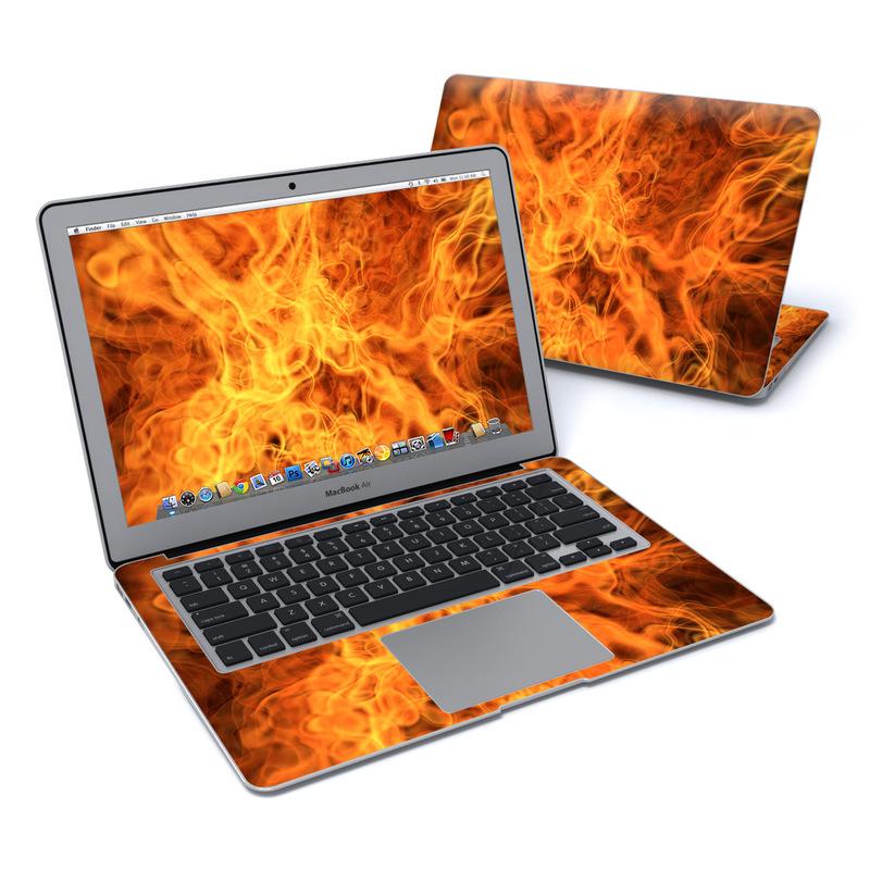 MacBook Air Pre 2018 13-inch Skin design of Flame, Fire, Heat, Orange with red, orange, black colors