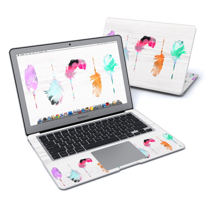 MacBook Air Pre 2018 13-inch Skin design of Pink, Watercolor paint, Illustration, Feather, Design, Art, Painting, Graphic design, Visual arts, Drawing with white, orange, red, blue, pink, purple, green colors