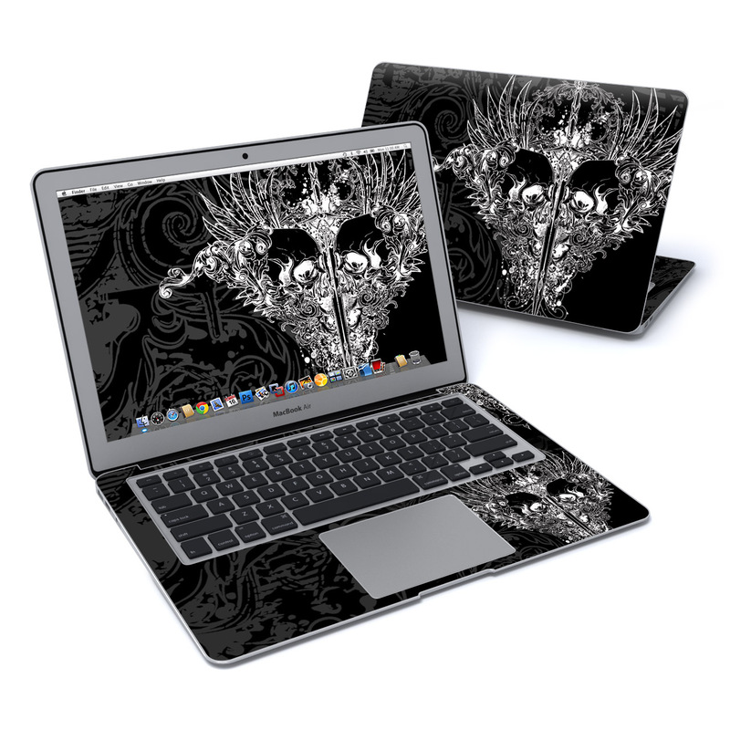 MacBook Air Pre 2018 13-inch Skin design of Illustration, Art, Design, Monochrome, Graphic design, Pattern, Fictional character, Skull, Black-and-white, Graphics with black, gray colors