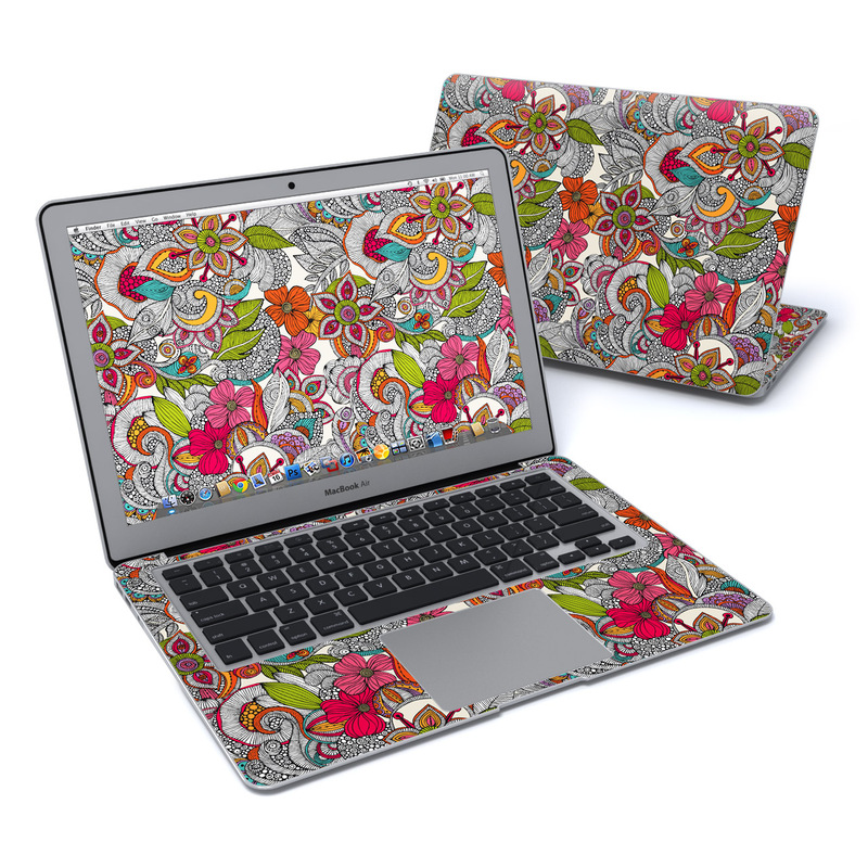 MacBook Air Pre 2018 13-inch Skin design of Pattern, Drawing, Visual arts, Art, Design, Doodle, Floral design, Motif, Illustration, Textile with gray, red, black, green, purple, blue colors