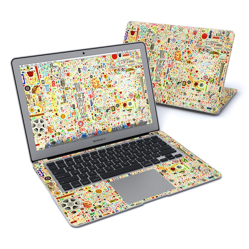 MacBook Air Pre 2018 13-inch Skin design of Line, Map, Pattern with yellow, orange, green, red, blue, brown colors