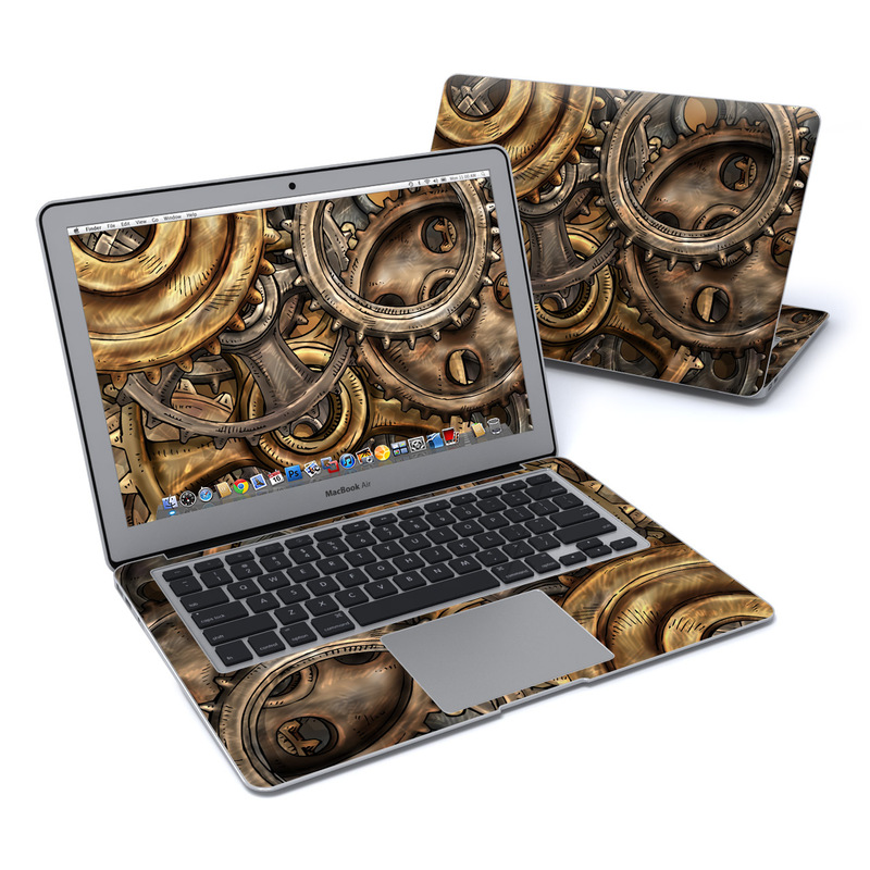 MacBook Air Pre 2018 13-inch Skin design of Metal, Auto part, Bronze, Brass, Copper with black, red, green, gray colors