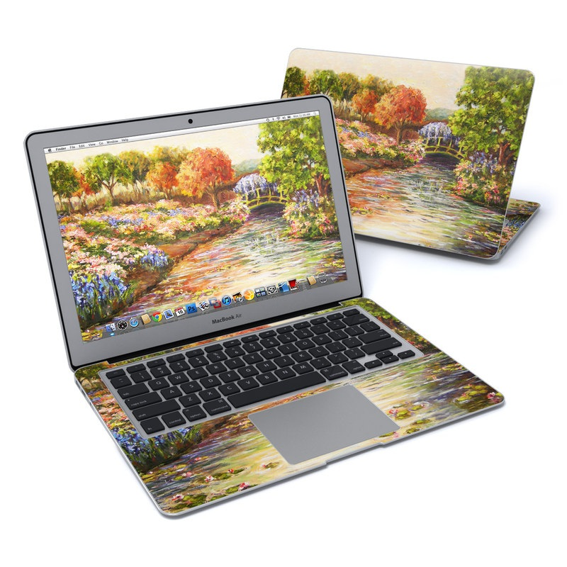 MacBook Air Pre 2018 13-inch Skin design of Painting, Watercolor paint, Bank, Natural landscape, River, Acrylic paint, Plant, Landscape, Spring, Waterway with gray, green, black, red colors