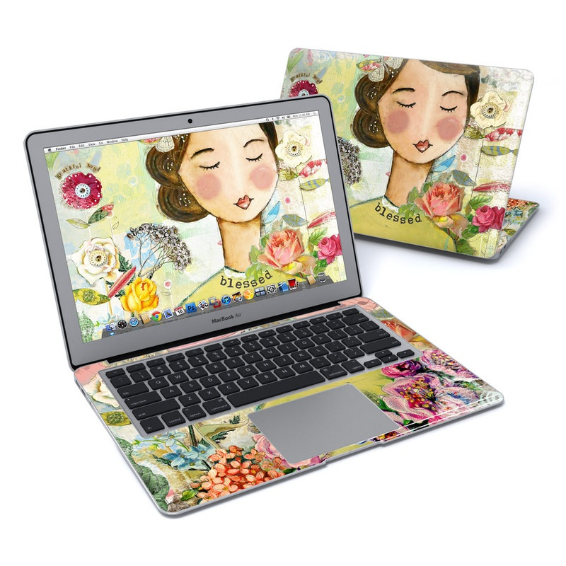 MacBook Air Pre 2018 13-inch Skin design of Illustration, Cheek, Art, Watercolor paint, Retro style, Painting, Plant, Flower, Fashion illustration, Fictional character with pink, green, yellow, white, red, blue colors
