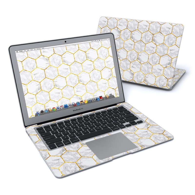 MacBook Air Pre 2018 13-inch Skin design of Pattern, Tile flooring, Line, Tile, Design, Flooring, Floor with white, black, brown colors