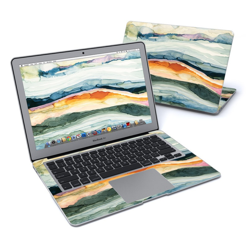 MacBook Air Pre 2018 13-inch Skin design of Watercolor paint, Painting, Sky, Wave, Geology, Landscape, Pattern, Acrylic paint, Cloud, Paint with blue, purple, orange, yellow, red, green, brown colors