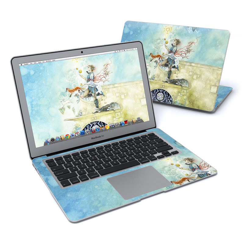 MacBook Air Pre 2018 13-inch Skin design of Illustration, Art, Painting, Watercolor paint, Mythology, Fictional character with gray, blue, black, green colors