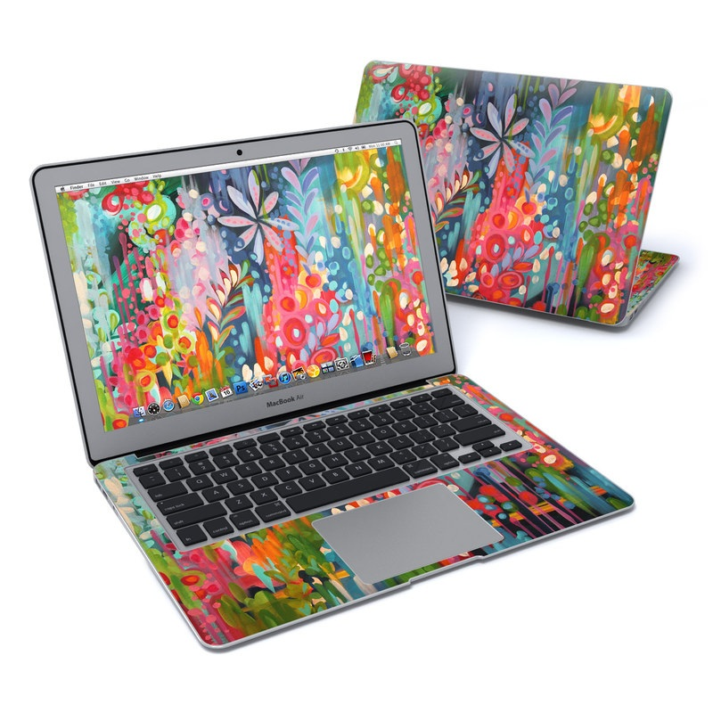 MacBook Air Pre 2018 13-inch Skin design of Painting, Modern art, Acrylic paint, Art, Visual arts, Watercolor paint, Child art, Flower, Plant, Tree with blue, red, orange, purple, yellow, pink, green colors