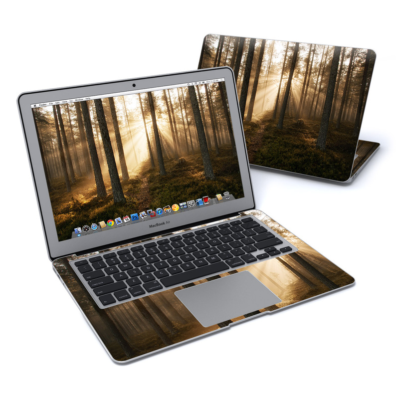MacBook Air Pre 2018 13-inch Skin design of Forest, Woodland, Nature, Tree, Natural environment, Spruce-fir forest, Northern hardwood forest, Old-growth forest, Natural landscape, Tropical and subtropical coniferous forests with black, gray, red, green, pink colors