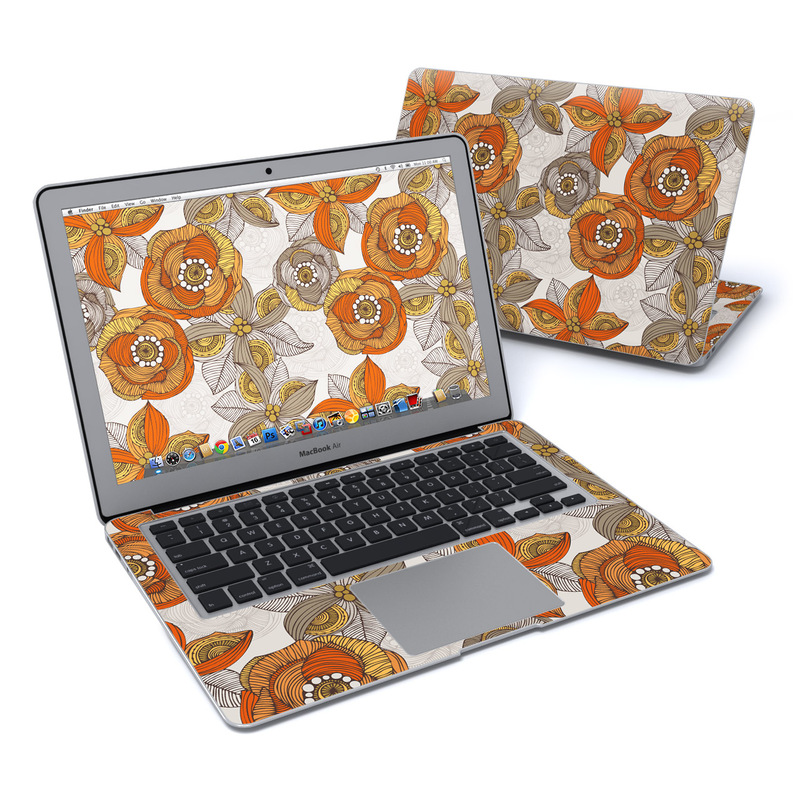 Orange and Grey Flowers MacBook Air 13-inch Skin