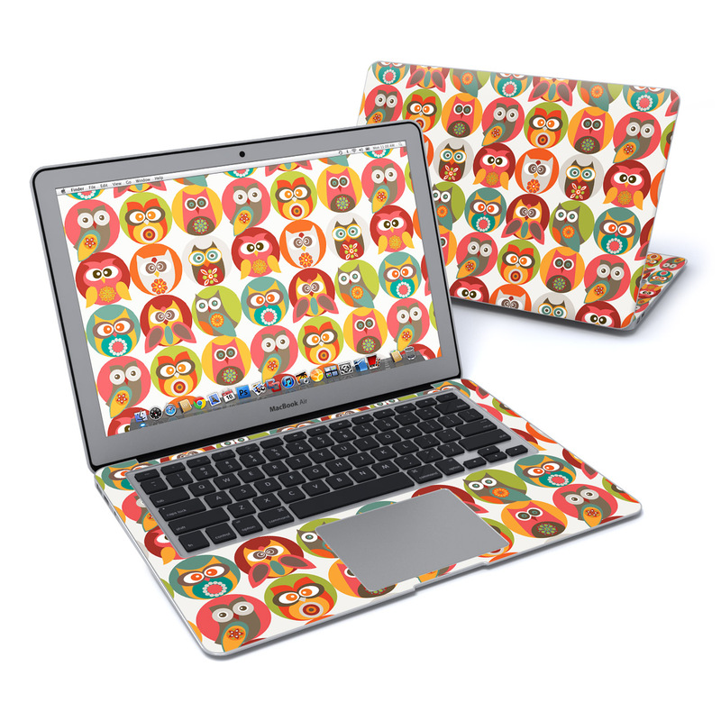 MacBook Air Pre 2018 13-inch Skin design of Owl, Product, Clip art, Orange, Bird, Bird of prey with red, yellow, gray, green, orange, blue colors