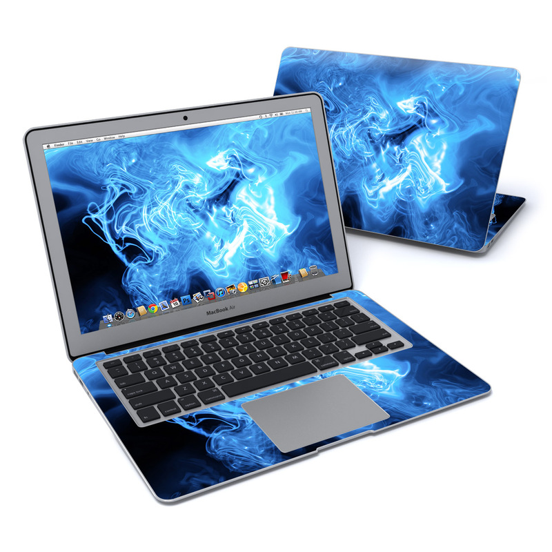 MacBook Air Pre 2018 13-inch Skin design of Blue, Water, Electric blue, Organism, Pattern, Smoke, Liquid, Art with blue, black, purple colors