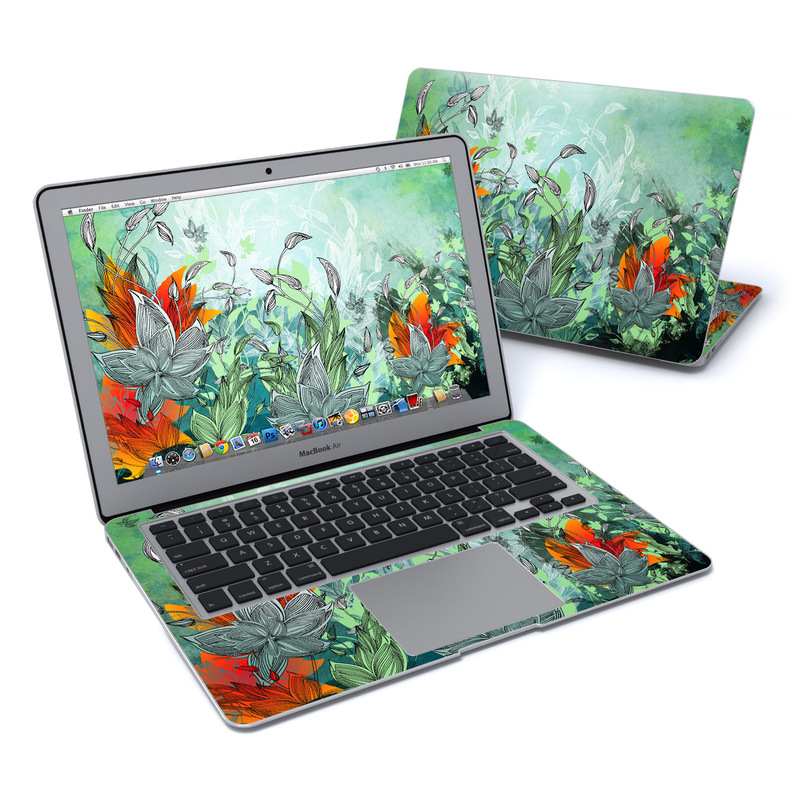MacBook Air Pre 2018 13-inch Skin design of Flower, Plant, Leaf, Botany, Watercolor paint, Illustration, Wildflower, Art, Landscape, Jungle with gray, black, blue, green, red colors