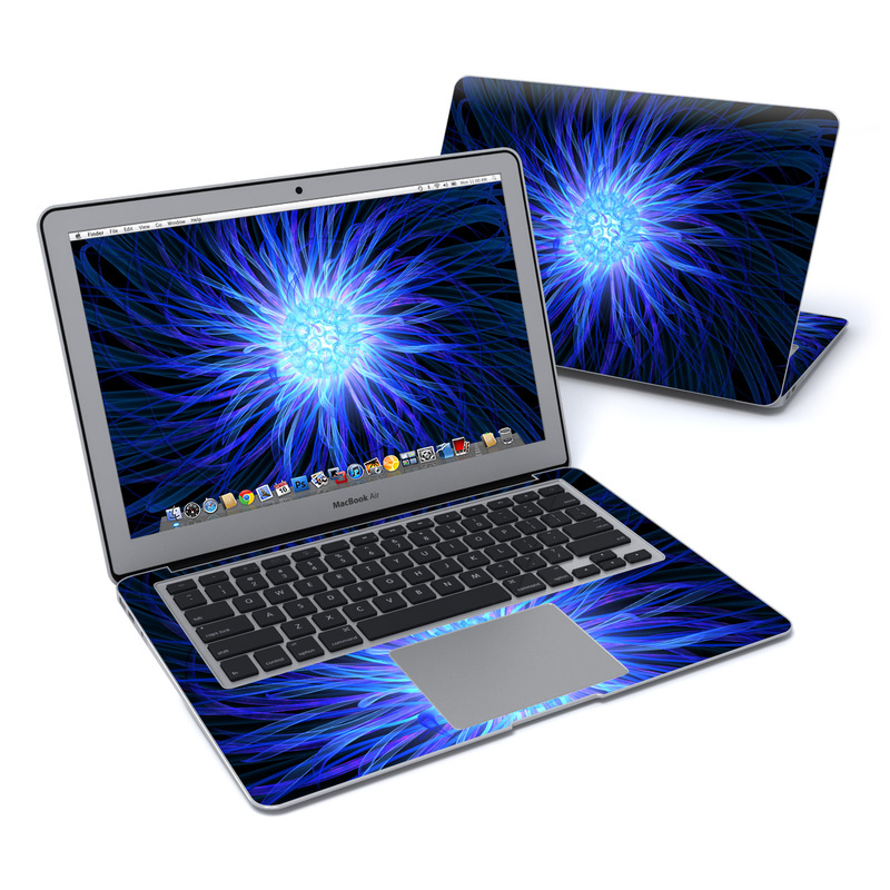 MacBook Air Pre 2018 13-inch Skin design of Blue, Electric blue, Fractal art, Light, Purple, Water, Organism, Art, Symmetry, Graphics with blue, black, purple colors