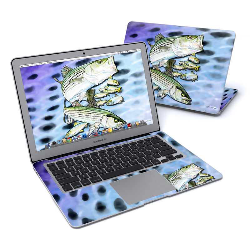 MacBook Air Pre 2018 13-inch Skin design of Fish, Bass, Bony-fish, Ray-finned fish, Northern largemouth bass, Trout with gray, black, blue, purple, green colors