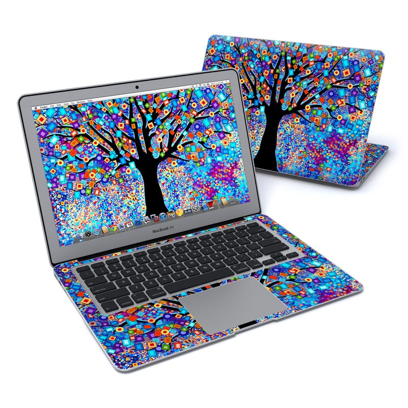 MacBook Air Pre 2018 13-inch Skin design of Psychedelic art, Modern art, Art with black, blue, red, orange, yellow, green, purple colors