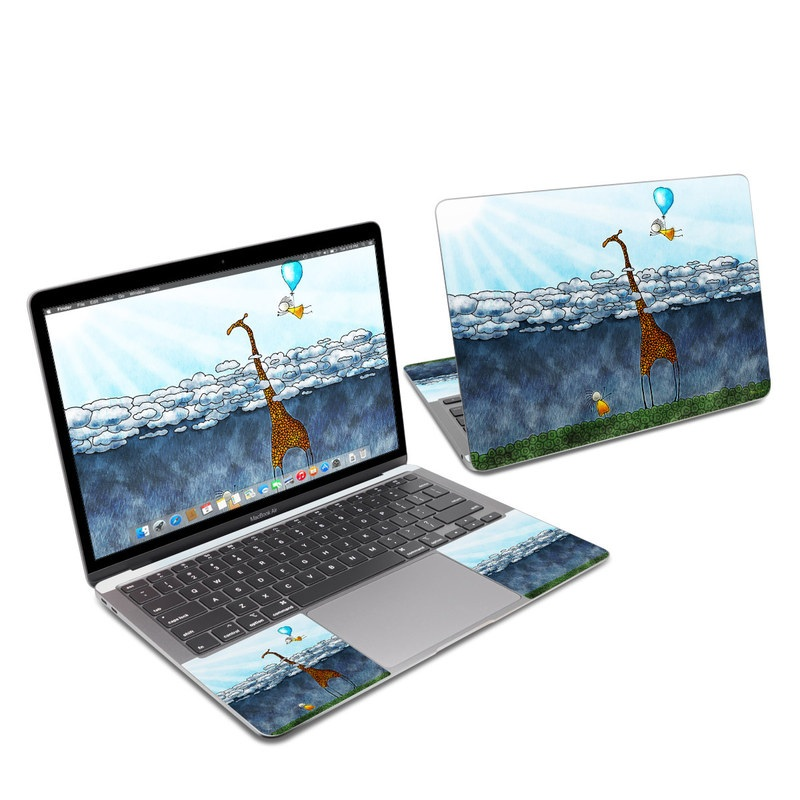 MacBook Air 13-inch Skin design of Giraffe, Sky, Tree, Water, Branch, Giraffidae, Illustration, Cloud, Grassland, Bird with blue, gray, yellow, green colors