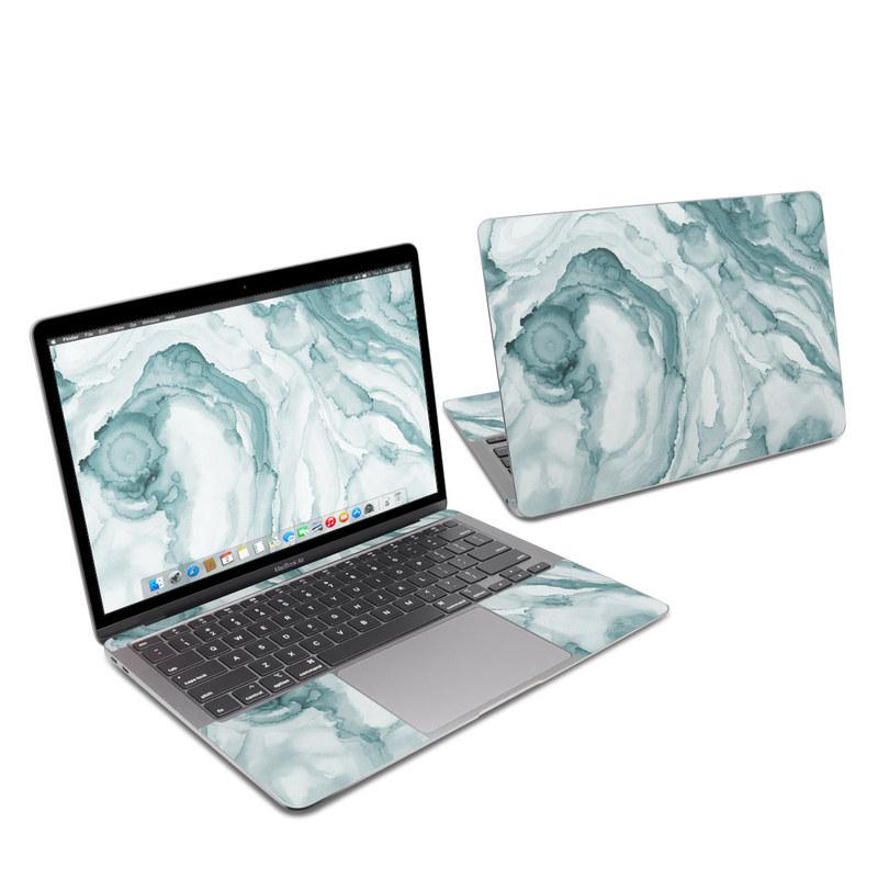 MacBook Air 13-inch Skin design of Liquid, Fluid, Snow, Polar ice cap, Ice cap, Aqua, Melting, Glacial landform, Arctic ocean, Pattern with blue, gray, white colors