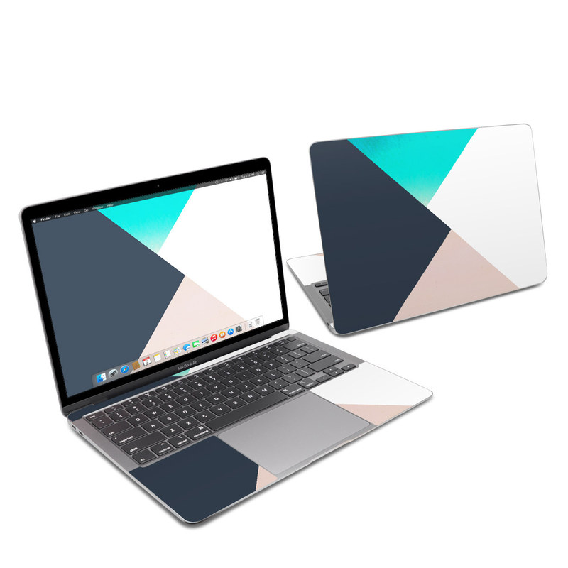 MacBook Air 13-inch Skin design of Blue, Turquoise, Aqua, Line, Triangle, Design, Material property, Graphic design, Pattern, Architecture with black, white, brown, blue colors