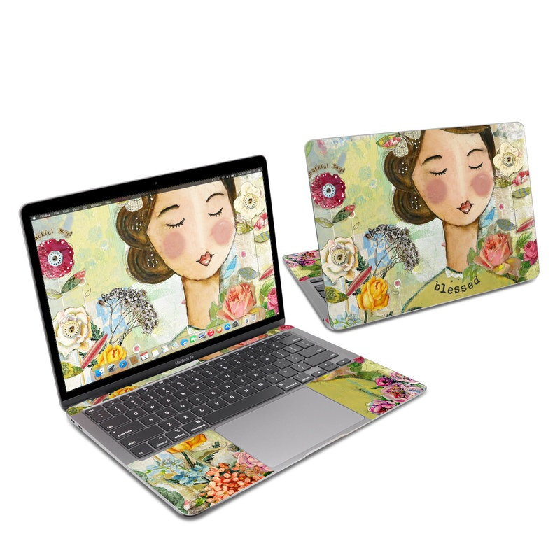 MacBook Air 13-inch Skin design of Illustration, Cheek, Art, Watercolor paint, Retro style, Painting, Plant, Flower, Fashion illustration, Fictional character with pink, green, yellow, white, red, blue colors