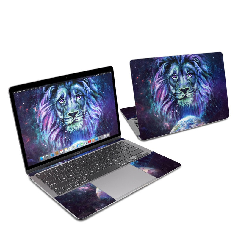 MacBook Air 13-inch Skin design of Lion, Felidae, Purple, Wildlife, Big cats, Illustration, Darkness, Space, Painting, Art with purple, blue, green, black, white, red colors