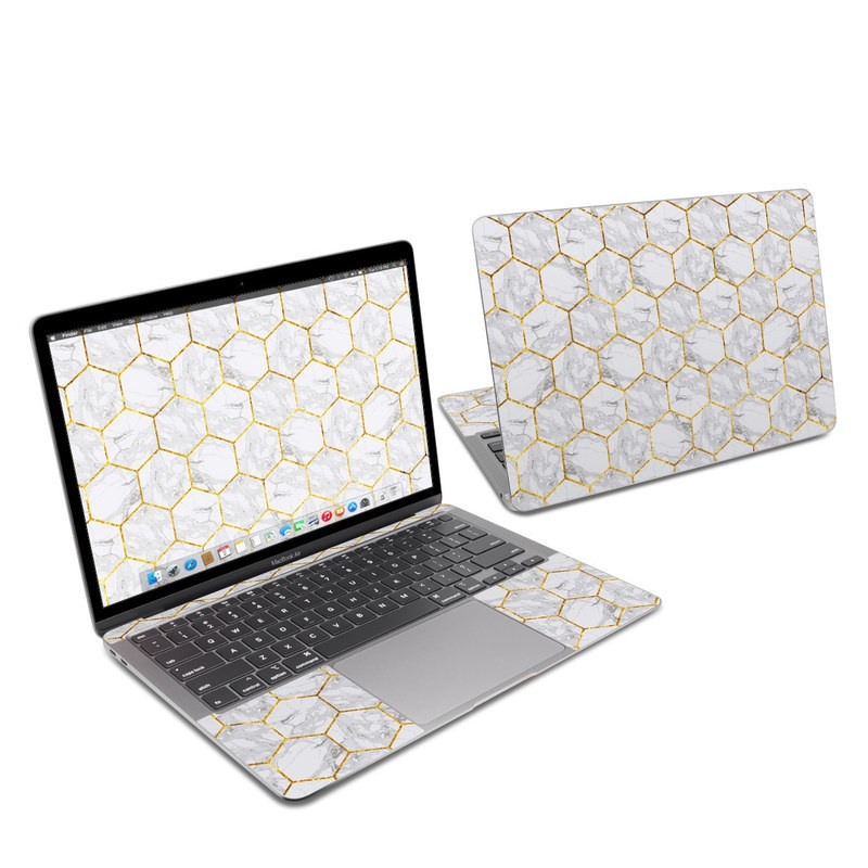 MacBook Air 13-inch Skin design of Pattern, Tile flooring, Line, Tile, Design, Flooring, Floor with white, black, brown colors