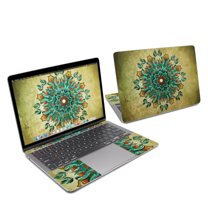 MacBook Air 13-inch Skin design of Art, Pattern, Illustration, Visual arts, Psychedelic art, Design, Modern art, Textile, Drawing, Plant with black, green, gray, blue, red colors