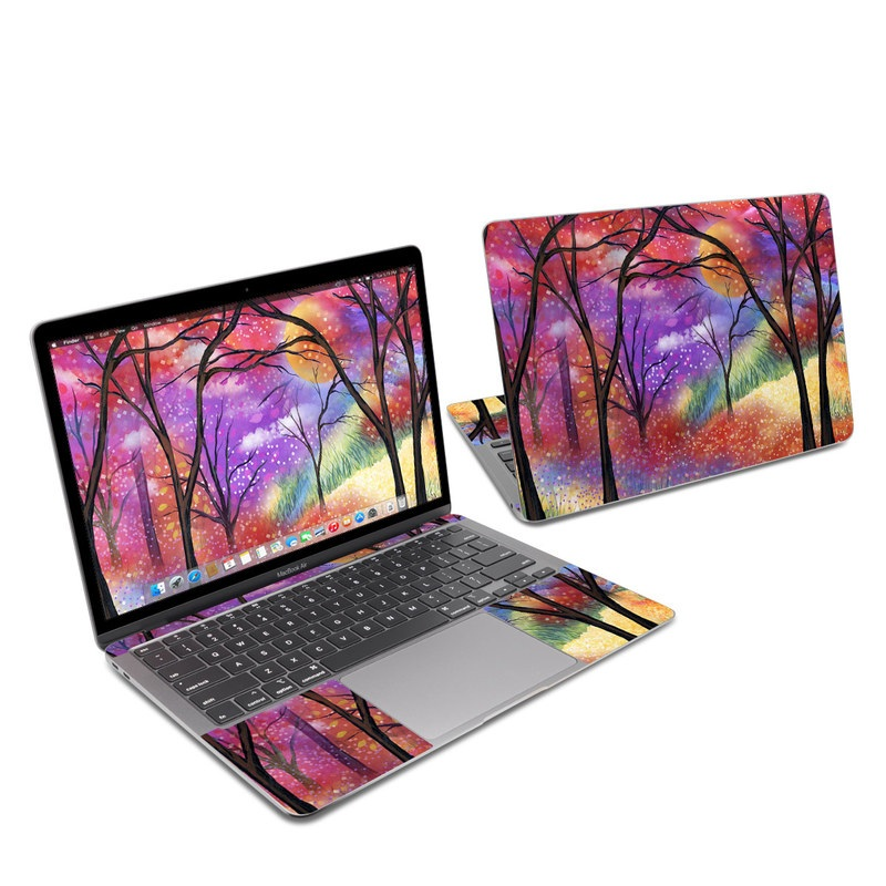 MacBook Air 13-inch Skin design of Nature, Tree, Natural landscape, Painting, Watercolor paint, Branch, Acrylic paint, Purple, Modern art, Leaf with red, purple, black, gray, green, blue colors