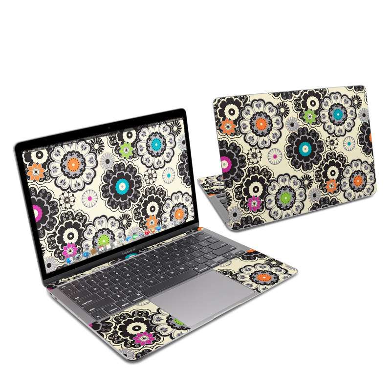 MacBook Air 13-inch Skin design of Pattern, Circle, Design, Visual arts, Floral design, Textile, Psychedelic art, Art, Plant with gray, black, pink, green, purple colors