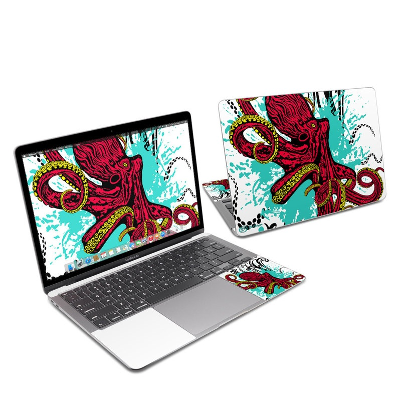 MacBook Air 13-inch Skin design of Graphic design, Illustration, Visual arts, Octopus, Design, Art, Fictional character, Pattern, Clip art, Line art with black, white, gray, red, blue, green colors