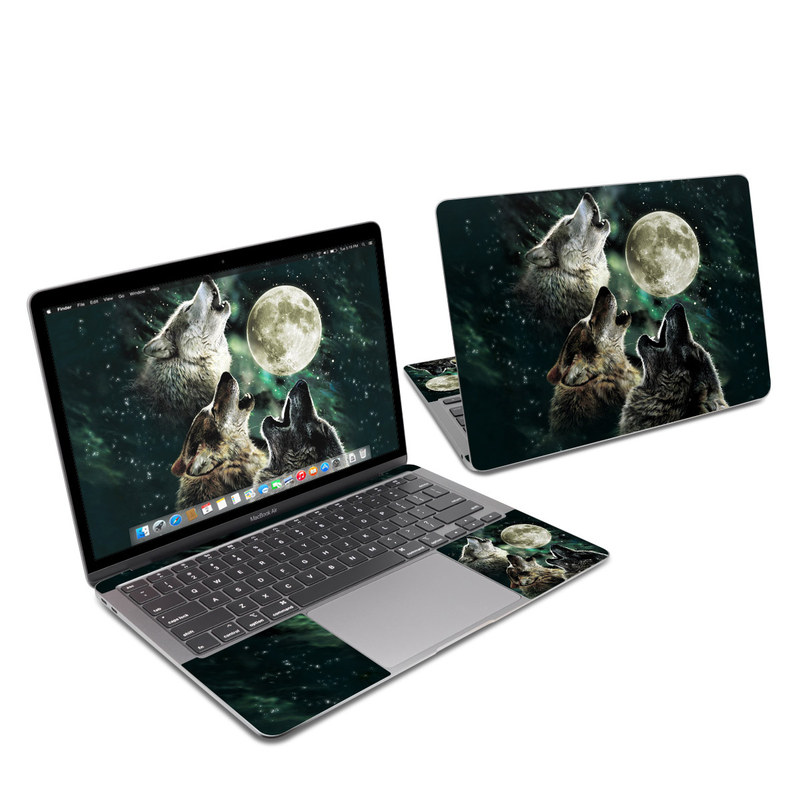 MacBook Air 13-inch Skin design of Wolf, Light, Astronomical object, Moon, Wildlife, Organism, Moonlight, Sky, Atmosphere, Celestial event with black, gray, green colors