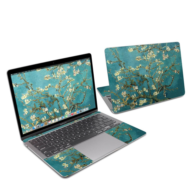 MacBook Air 13-inch Skin design of Tree, Branch, Plant, Flower, Blossom, Spring, Woody plant, Perennial plant with blue, black, gray, green colors